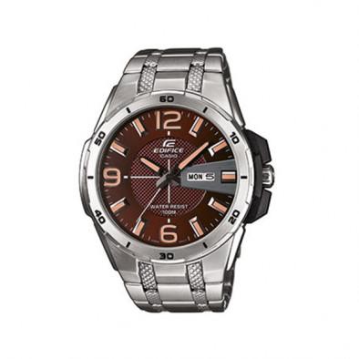 Мъжки часовник Casio Edifice сребрист браслет с кафяв циферблат