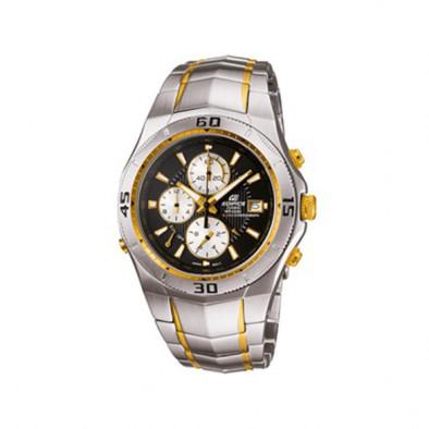 Мъжки часовник Casio Edifice сребрист браслет със златисти елементи