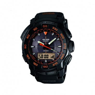 Мъжки часовник Casio Pro Trek черен с черна каучукова каишка