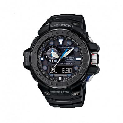 Мъжки спортен часовник Casio G-SHOCK черен с малки сини детайли