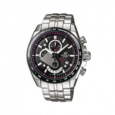 Мъжки часовник Casio Edifice сребрист браслет с червени елементи