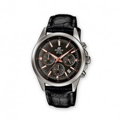 Мъжки часовник Casio Edifice с черна кожена каишка и кафяво-бели стрелки