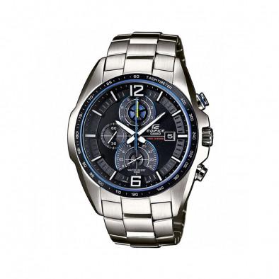 Мъжки часовник Casio Edifice сребрист браслет със син циферблат
