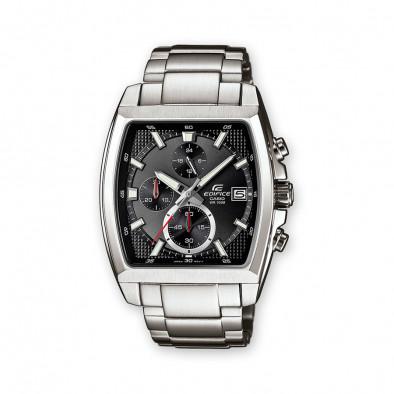 Мъжки часовник Casio Edifice сребрист браслет с правоъгълен черен циферблат