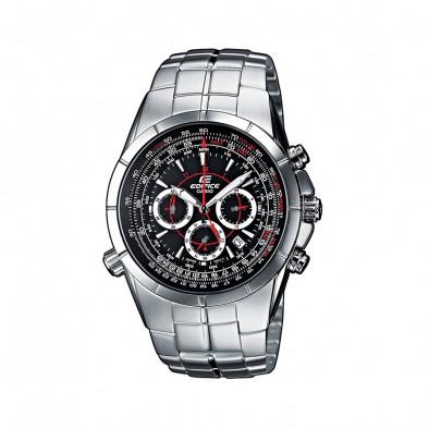Мъжки часовник Casio Edifice сребрист браслет с втора часова зона