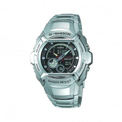 Мъжки часовник Casio G-SHOCK сив стоманен браслет с черен циферблат