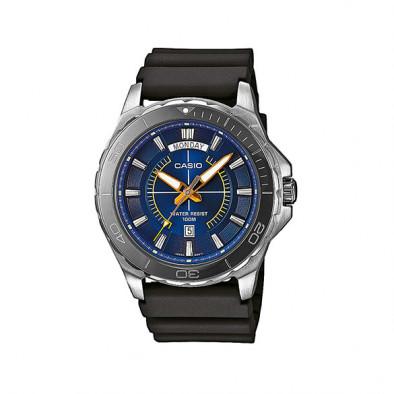 Мъжки часовник Casio Collection сребрист с черна каучукова каишка