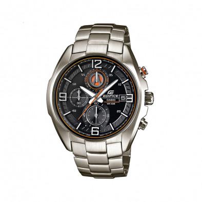 Мъжки часовник Casio Edifice сребрист браслет с оранжев кант в циферблата