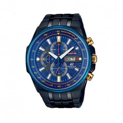 Мъжки часовник Casio Edifice черен със син циферблат