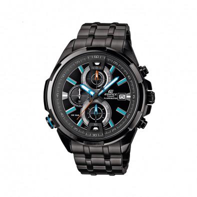 Мъжки часовник Casio Edifice черен браслет със сини индекси