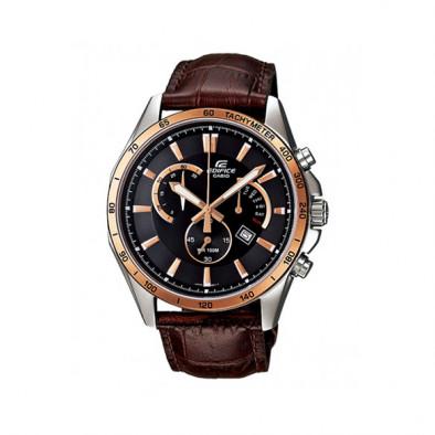Мъжки часовник Casio Edifice с кафява каишка от естествена кожа и златисти индекси