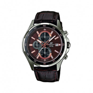 Мъжки часовник Casio Edifice с кафява кожена каишка и кафяв циферблат