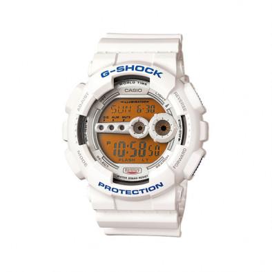 Мъжки спортен часовник Casio G-SHOCK бял с оранжево осветление на дисплея