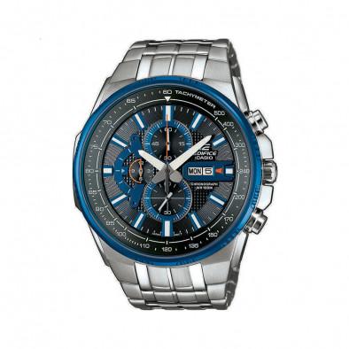 Мъжки часовник Casio Edifice сребрист браслет с черно-син циферблат