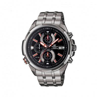 Мъжки часовник Casio Edifice сребрист браслет с червени индекси