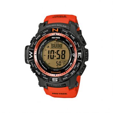 Мъжки часовник Casio Pro Trek  с оранжева каишка и соларно захранване