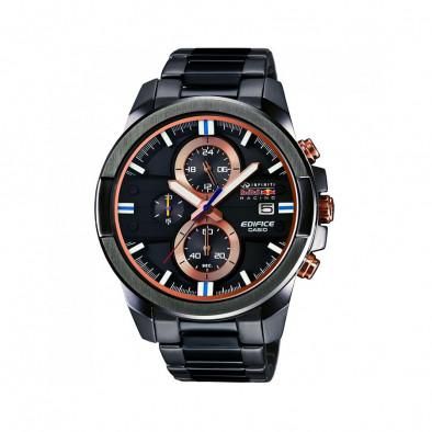 Мъжки часовник Casio Edifice черен браслет с оранжеви бутони