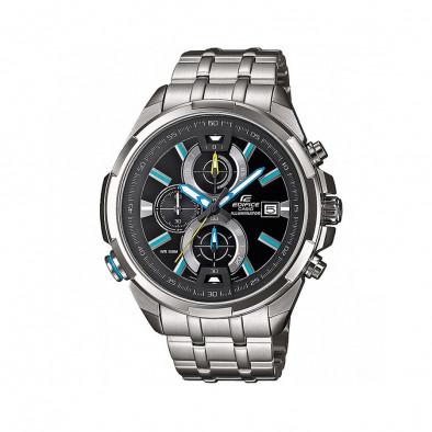 Мъжки часовник Casio Edifice сребрист браслет със сини индекси