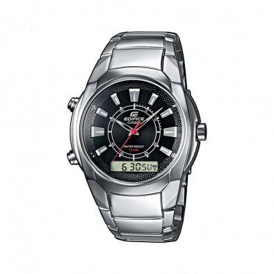 Мъжки часовник Casio Edifice сребрист с червена стрелка за секундите