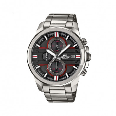 Мъжки часовник Casio Edifice сив браслет с червени детайли