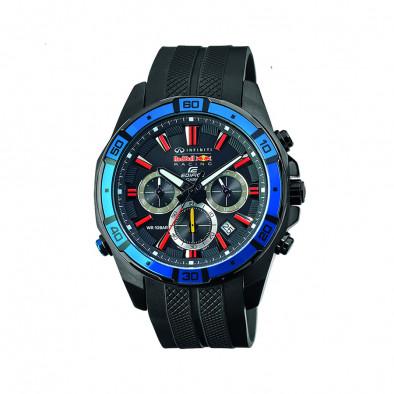 Мъжки часовник Casio Edifice с черна каучукова каишка и червени индекси