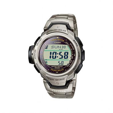 Мъжки часовник Casio Pro Trek сребрист с титаниева каишка