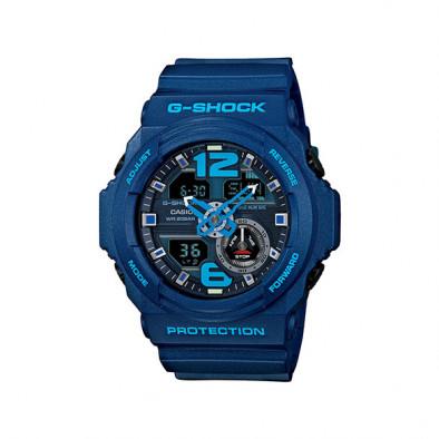 Мъжки спортен часовник Casio G-SHOCK син със светло сини надписи