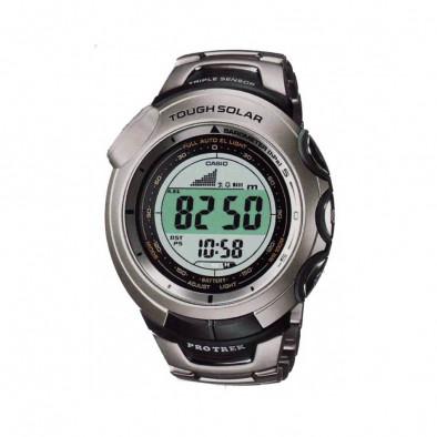 Мъжки часовник Casio Pro Trek сив с титаниев браслет