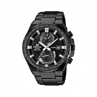 Мъжки часовник Casio Edifice черен браслет със сребристи стрелки