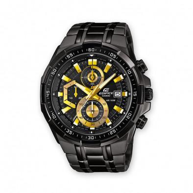 Мъжки часовник Casio Edifice черен браслет с жълти стрелки и детайли на циферблата