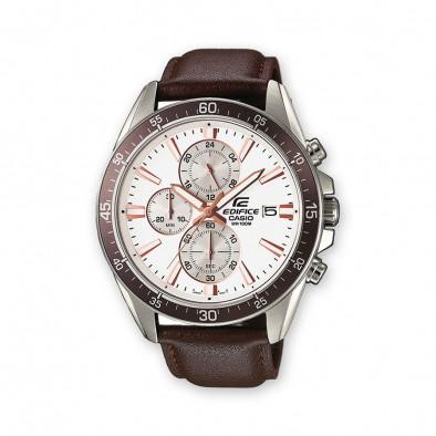 Мъжки часовник Casio Edifice с кафява каишка от естествена кожа