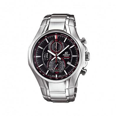 Мъжки часовник Casio Edifice сребрист браслет с червен кант в циферблата