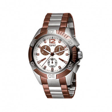 Мъжки часовник Esprit сребрист браслет с кафяви детайли