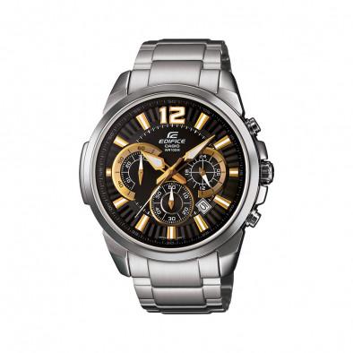 Мъжки часовник Casio Edifice сребрист браслет със златисти стрелки