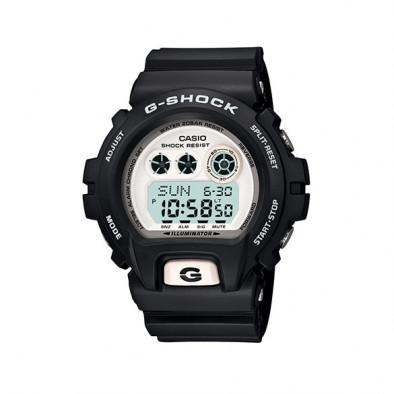 Мъжки спортен часовник Casio G-SHOCK черен с бял дисплей