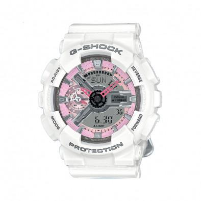 Мъжки спортен часовник Casio G-SHOCK бял с розови детайли