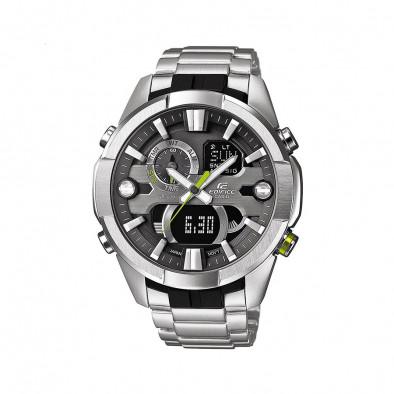 Мъжки часовник Casio Edifice сребрист браслет с неоново зелен бутон