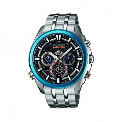 Мъжки часовник Casio Edifice сребрист браслет със син ринг на циферблата