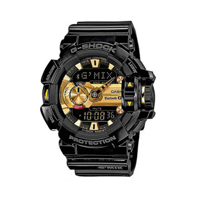 Мъжки спортен часовник Casio G-SHOCK черен със златист дисплей