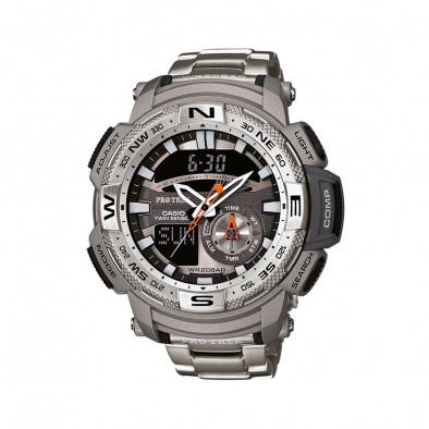 Мъжки часовник Casio Pro Trek сив с термометър