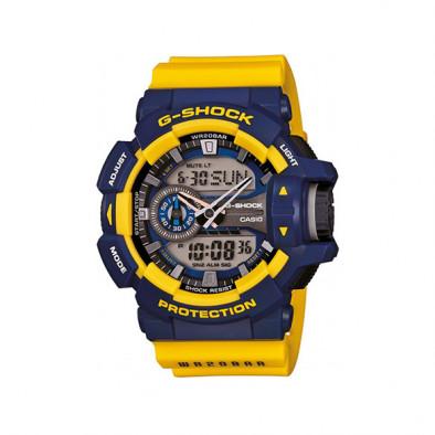 Мъжки спортен часовник Casio G-SHOCK със син дисплей и жълта каишка