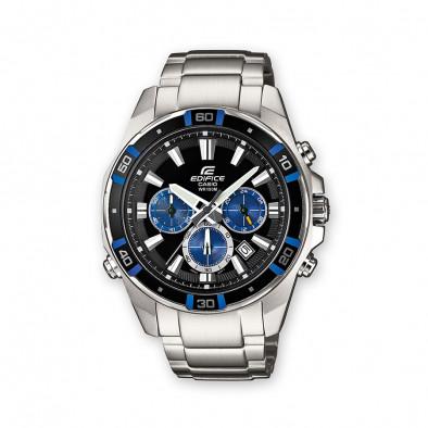 Мъжки часовник Casio Edifice сребрист браслет с черен циферблат и бели индекси
