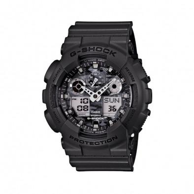 Мъжки спортен часовник Casio G-SHOCK черен със сив камуфлажен циферблат