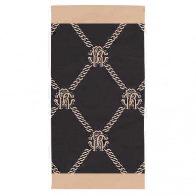 Плажна кърпа черно-бежова с ефектен принт на верижки tsf120416-5 2