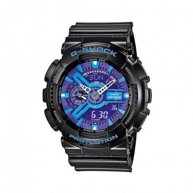 Мъжки спортен часовник Casio G-SHOCK черен с лилаво-син циферблат