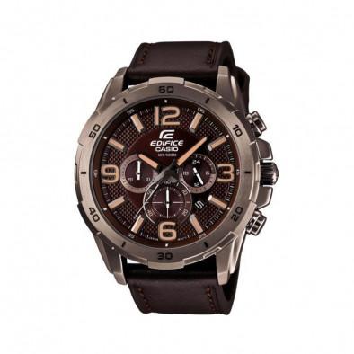 Мъжки часовник Casio Edifice кафяв с кафява кожена каишка