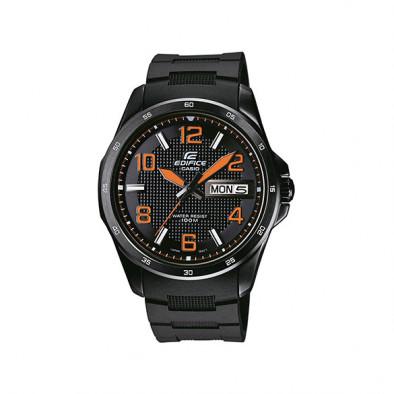 Мъжки часовник Casio Edifice черен с оранжеви стрелки и оранжеви цифри