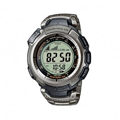 Мъжки часовник Casio Pro Trek сребрист с титаниев браслет