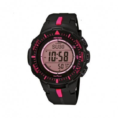 Мъжки часовник Casio Pro Trek черен с розови детайли