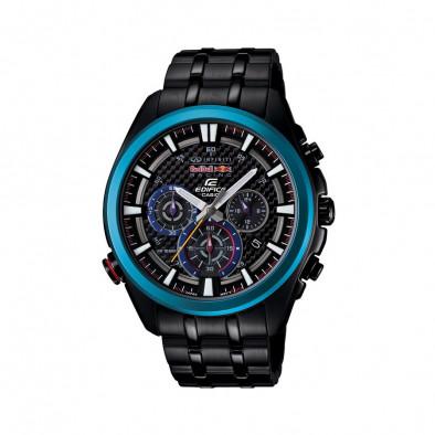 Мъжки часовник Casio Edifice черен браслет със син ринг на циферблата